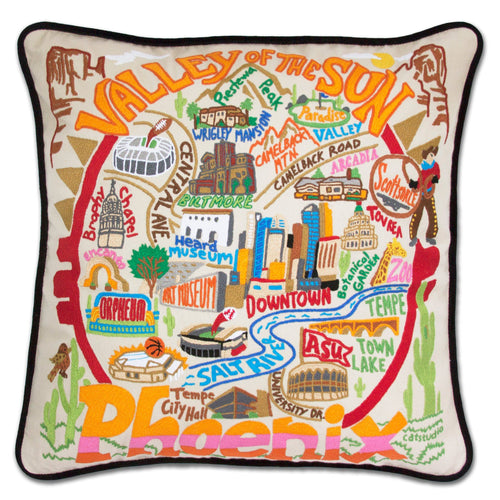 Phoenix Hand-Embroidered Pillow - catstudio