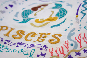 Pisces Astrology Dish Towel Dish Towel catstudio