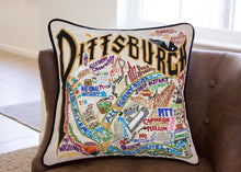 Load image into Gallery viewer, Pittsburgh Hand-Embroidered Pillow - catstudio