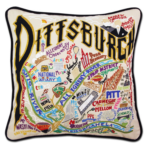 Pittsburgh Hand-Embroidered Pillow - catstudio