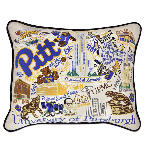 Pittsburgh, University of Collegiate Embroidered Pillow Pillow catstudio