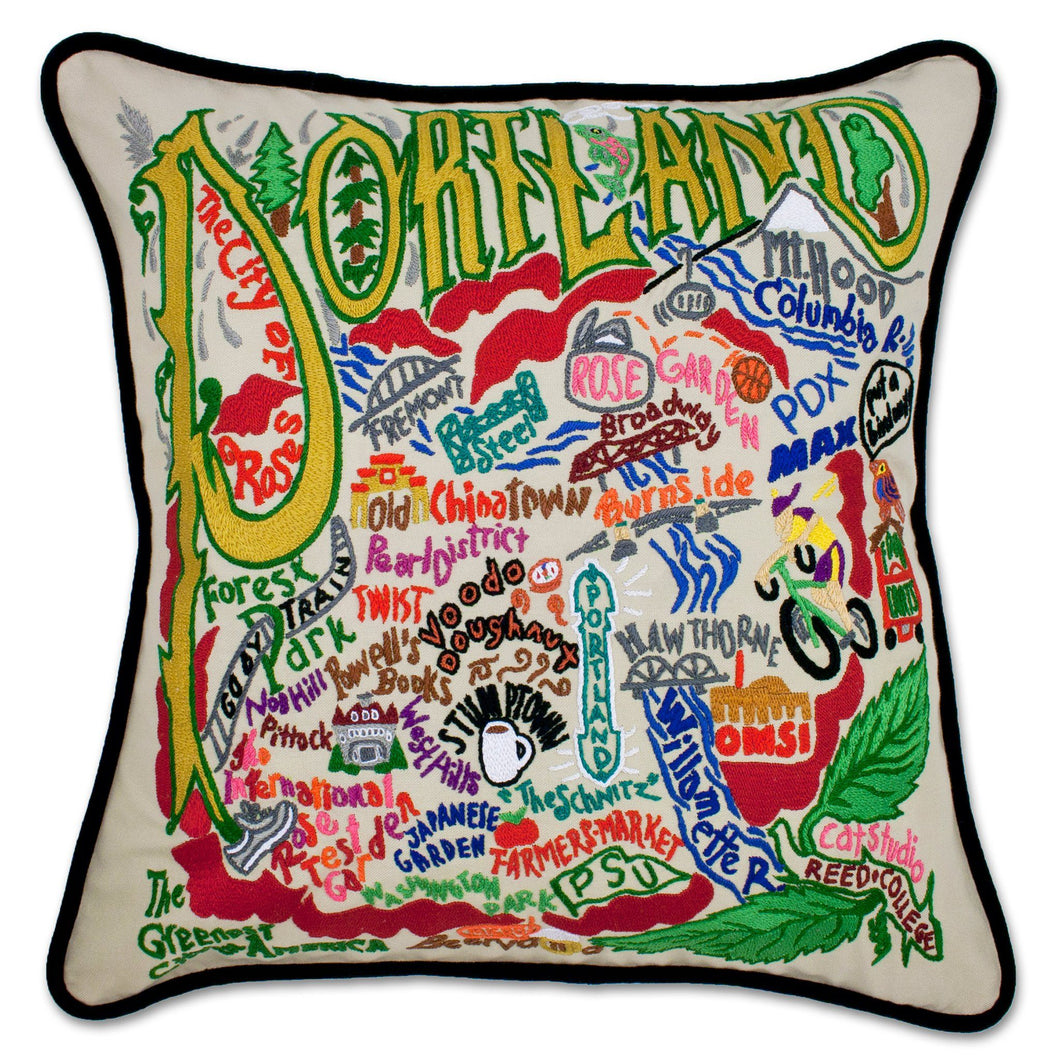 Portland, OR Hand-Embroidered Pillow - catstudio