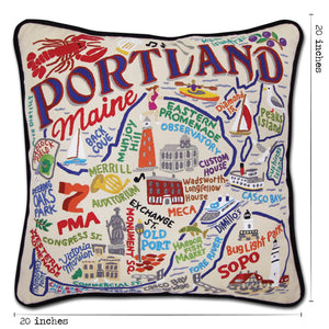 Portland, ME Hand-Embroidered Pillow Pillow catstudio