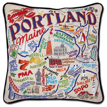 Load image into Gallery viewer, Portland, ME Hand-Embroidered Pillow - catstudio