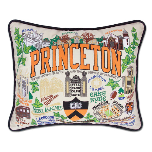 Princeton University Collegiate Embroidered Pillow - catstudio