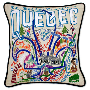 Québec Hand-Embroidered Pillow Pillow catstudio