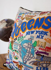 Queens Hand-Embroidered Pillow Pillow catstudio