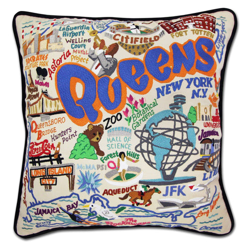 Queens Hand-Embroidered Pillow - catstudio