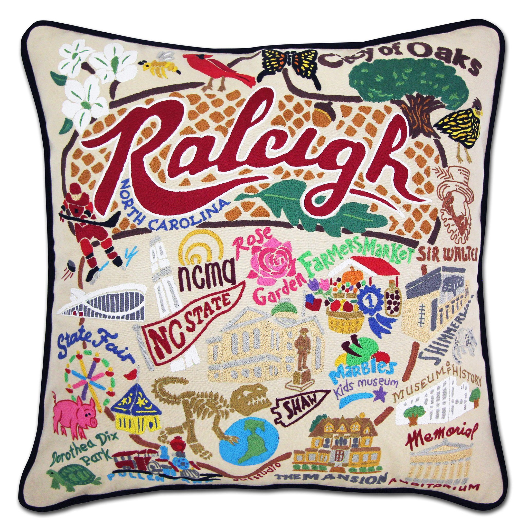 Raleigh Hand Embroidered Pillow North Carolina Collection By Catstudio Catstudio