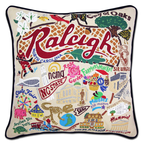 Raleigh Hand-Embroidered Pillow Pillow catstudio