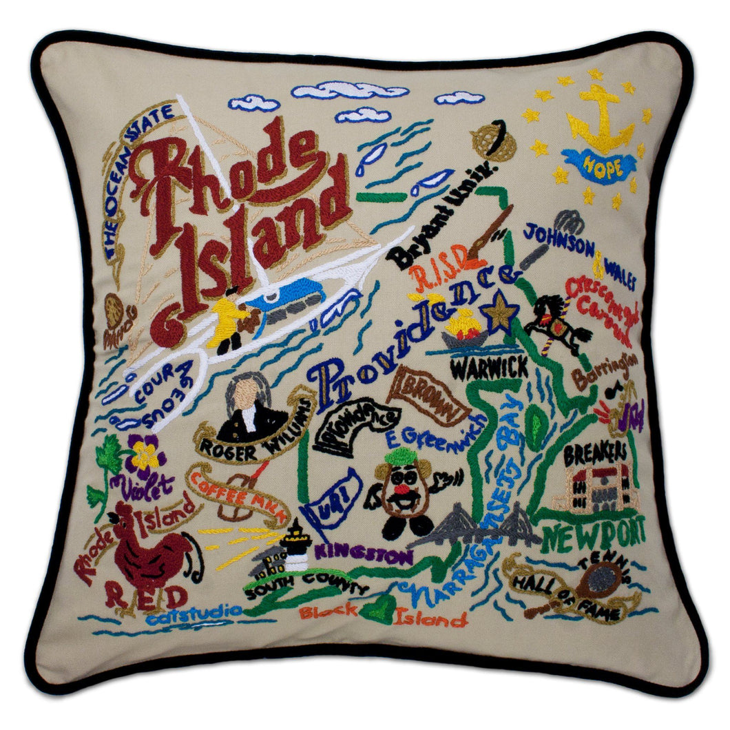 Rhode Island Hand-Embroidered Pillow - catstudio