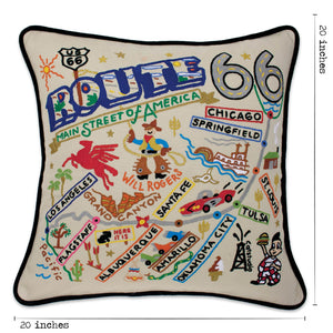 Route 66 Hand-Embroidered Pillow - catstudio