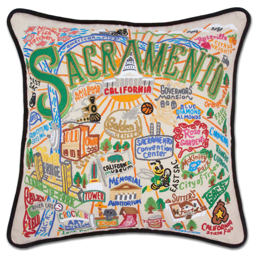 Sacramento Hand-Embroidered Pillow Pillow catstudio
