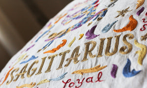 Sagittarius Astrology Hand-Embroidered Pillow - catstudio