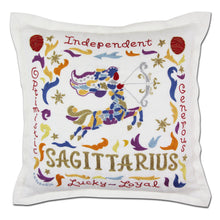 Load image into Gallery viewer, Sagittarius Astrology Hand-Embroidered Pillow - catstudio