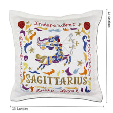 Load image into Gallery viewer, Sagittarius Astrology Hand-Embroidered Pillow Pillow catstudio