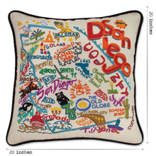 Load image into Gallery viewer, San Diego Hand-Embroidered Pillow - catstudio