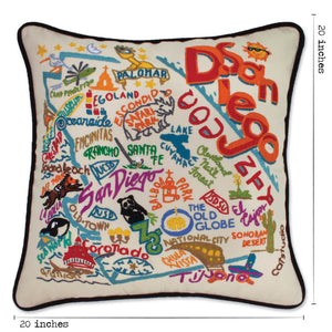 San Diego Hand-Embroidered Pillow Pillow catstudio