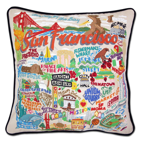San Francisco City Hand-Embroidered Pillow Pillow catstudio