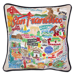 San Francisco City Hand-Embroidered Pillow - catstudio