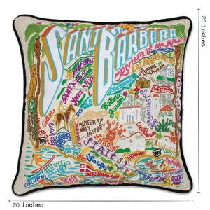 Santa Barbara Hand-Embroidered Pillow Pillow catstudio