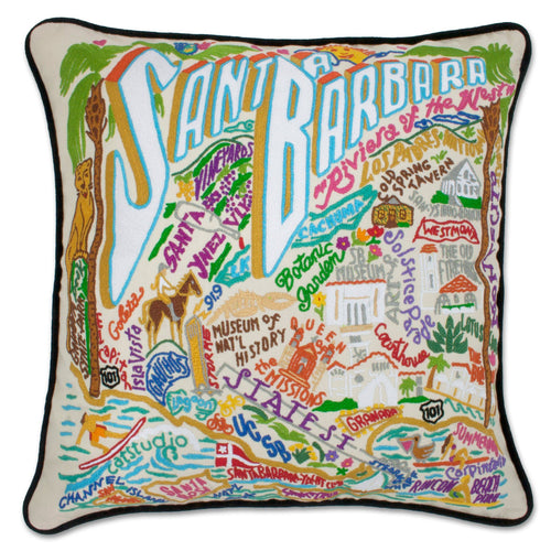 Santa Barbara Hand-Embroidered Pillow - catstudio