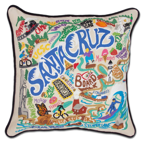 Santa Cruz Hand-Embroidered Pillow - catstudio