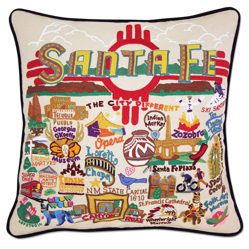 Santa Fe Hand-Embroidered Pillow - catstudio