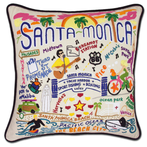 Santa Monica Hand-Embroidered Pillow Pillow catstudio