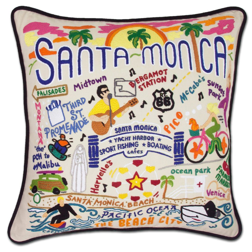 Santa Monica Hand-Embroidered Pillow - catstudio
