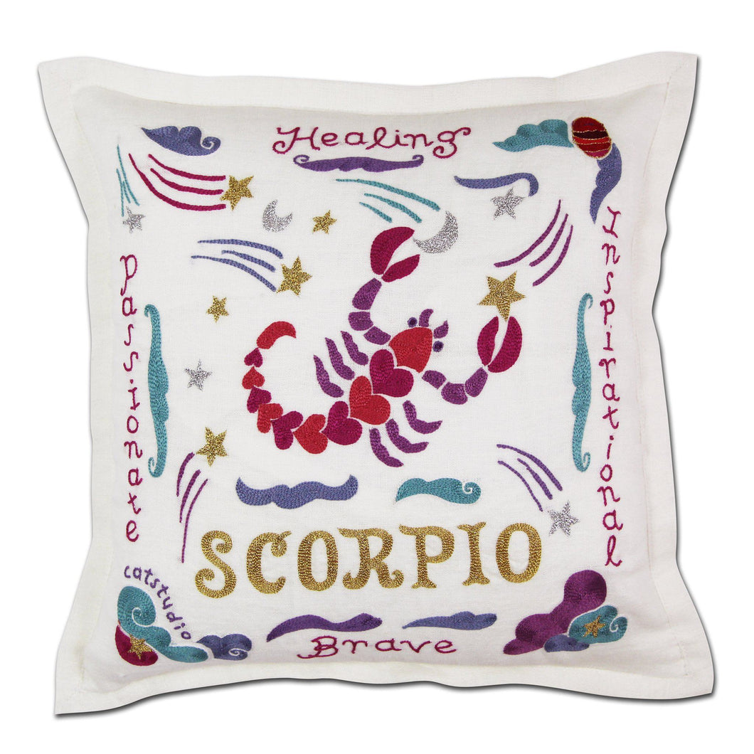 Scorpio Astrology Hand-Embroidered Pillow - catstudio