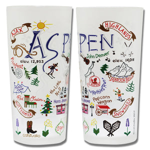 Ski Aspen Drinking Glass - catstudio