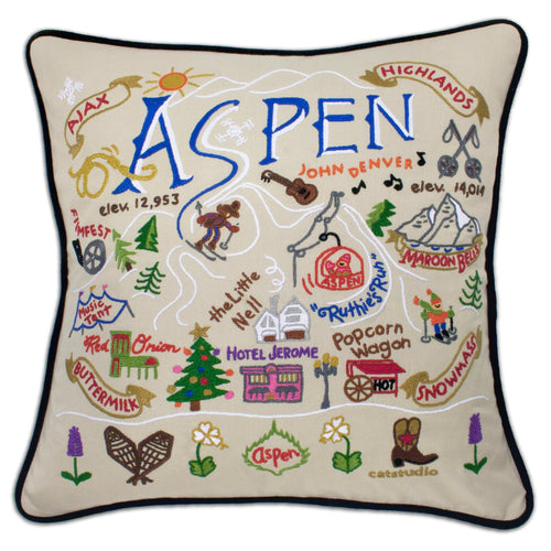 Ski Aspen Hand-Embroidered Pillow - catstudio