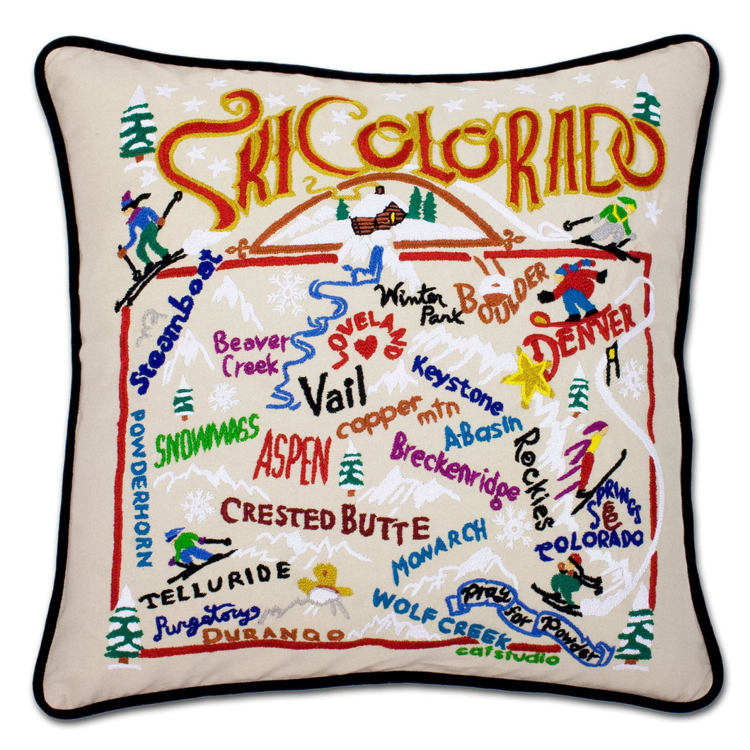 Ski Colorado Hand-Embroidered Pillow Pillow catstudio