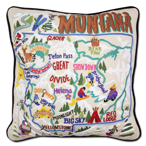 Ski Montana Hand-Embroidered Pillow Pillow catstudio