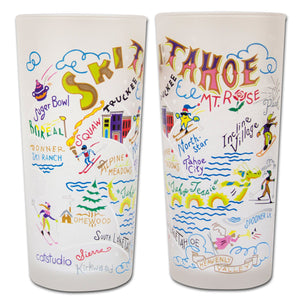 Ski Tahoe Drinking Glass - catstudio