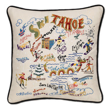 Load image into Gallery viewer, Ski Tahoe Hand-Embroidered Pillow - catstudio