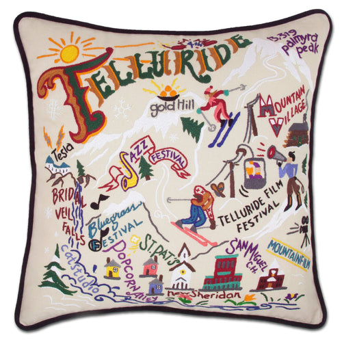 Ski Telluride Hand-Embroidered Pillow - catstudio