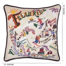 Load image into Gallery viewer, Ski Telluride Hand-Embroidered Pillow - catstudio