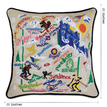 Load image into Gallery viewer, Ski Utah Hand-Embroidered Pillow - catstudio