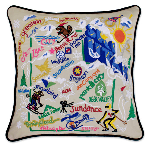 Ski Utah Hand-Embroidered Pillow - catstudio