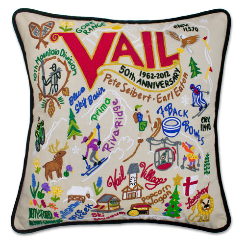 Ski Vail Hand-Embroidered Pillow - catstudio