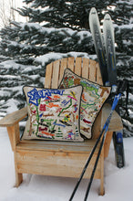 Load image into Gallery viewer, Ski Vermont Hand-Embroidered Pillow Pillow catstudio