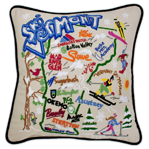 Ski Vermont Hand-Embroidered Pillow Pillow catstudio