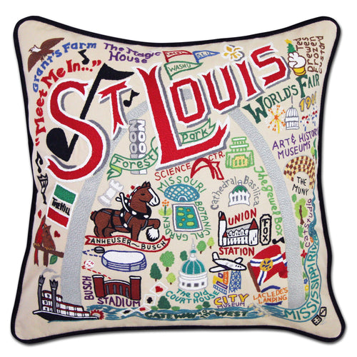 St. Louis Hand-Embroidered Pillow - catstudio