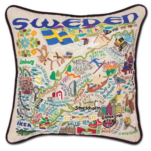Sweden Hand-Embroidered Pillow Pillow catstudio