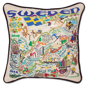 Sweden Hand-Embroidered Pillow - catstudio