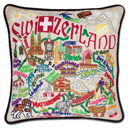 Switzerland Hand-Embroidered Pillow - catstudio