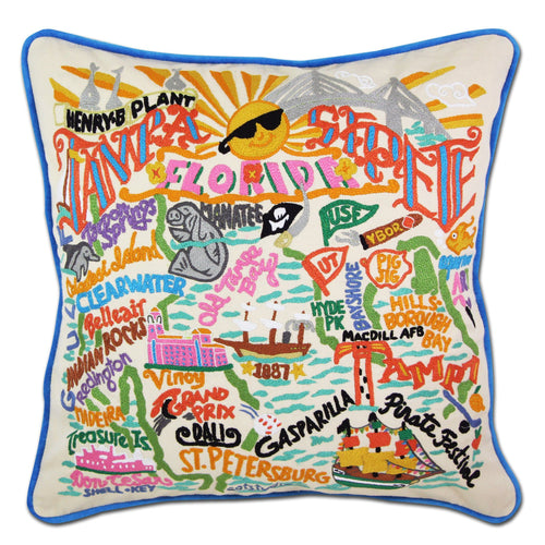 Tampa/St Pete Hand-Embroidered Pillow - catstudio