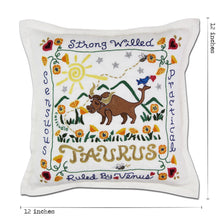 Load image into Gallery viewer, Taurus Astrology Hand-Embroidered Pillow Pillow catstudio
